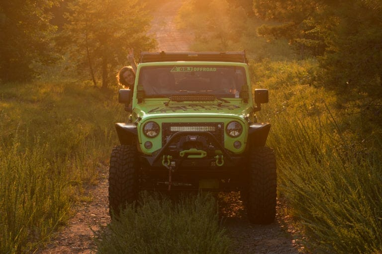 Green JK With Aftermarket Tires, Wheels, Suspension, Recovery and Decal