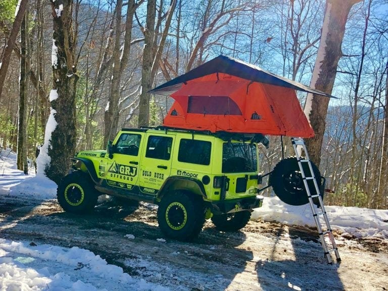 Hypercon Jeep JK with Tepui Roof Top Tent and Teraflex Roof Rack System in the North Georgia Mountains 2017 GRJ Offroad